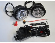 Round LED Day Running Lamps DRL Lights with universal fitting cover