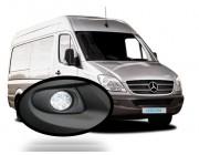 LED Round Day Running Light kit DRL Mercedes Sprinter 2006 to 2013 Black textured