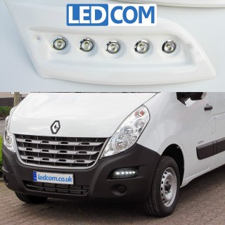 Pod Light Kit Daytime Running Lights DRL Renault Master 2010 onwards Ready to Paint