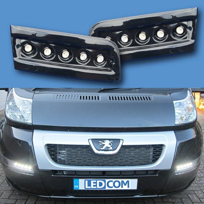 Pod Light Kit BLACK Daytime Running Lights DRL LED - Ducato, Boxer ...