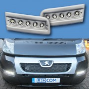 Pod Light Kit SILVER Daytime Running Lights DRL LED - Ducato, Boxer, Relay, X250