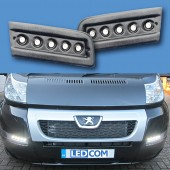 Pod Light Kit BLACK Textured Daytime Running Lights DRL LED - Ducato, Boxer, Relay, X250