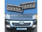 Pod Light Kit BLACK Textured Daytime Running Lights DRL LED - Ducato, Boxer, Relay, X250